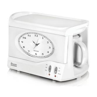 Swan STM201N Vintage Teasmade with Clock Alarm in White 600mL