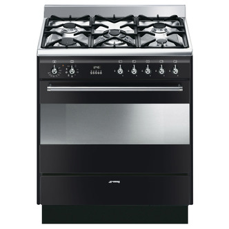 Smeg SUK81MBL8 80cm Concert Dual Fuel Single Oven Range Cooker Black