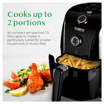 Tower T17025 1 5 Litre Health Air Fryer in Black 900W