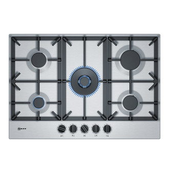Neff T27DS59N0 Built In 75cm 5 Zone Gas Hob in Stainless Steel