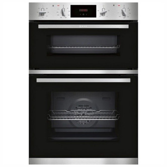 Neff U1GCC0AN0B 60cm Built In Electric Double Oven in Black and Steel