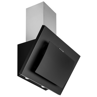 Image of Culina UBHH60BK 60cm Angled Glass Chimney Hood in Black Touch Controls