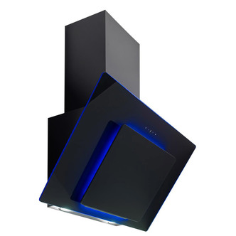 Image of Culina UBHHH90BK 90cm Angled Chimney Hood in Black Glass Touch Control