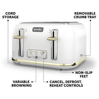 Breville VTT976 Flow 4 Slice Toaster in White Gold