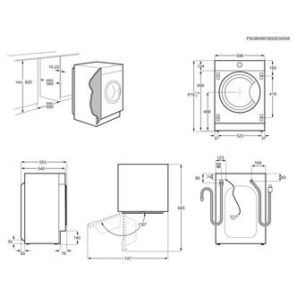 Zanussi Z816WT85BI 60cm Integrated Washer Dryer 1600rpm 8kg 4kg E Rate