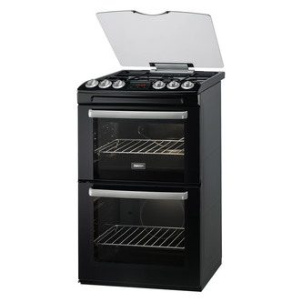 Zanussi ZCG552GNC 55cm Gas Cooker in Black Double Oven Glass Lid