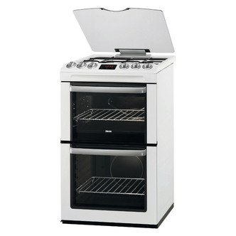 Zanussi ZCG552GWC 55cm Gas Cooker in White Double Oven Glass Lid