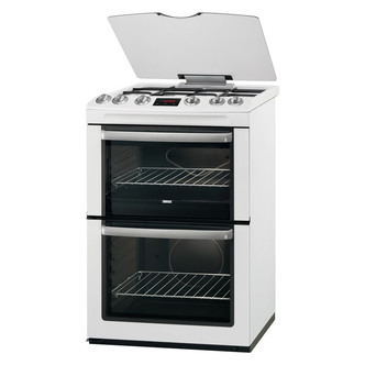 Zanussi ZCG664GWC 60cm Gas Cooker in White Double Oven Glass Lid