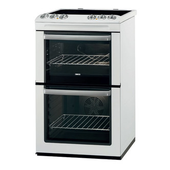 Zanussi ZCV554MW 55cm Electric Cooker in White Double Oven Ceramic Hob