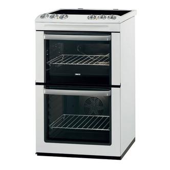 Zanussi ZCV554MW 55cm Electric Cooker in White Double Oven Ceramic Hob