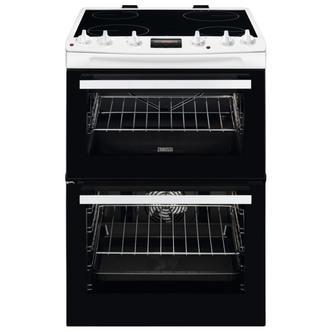 Zanussi ZCV66078WA 60cm Electric Cooker in White Double Oven Ceramic
