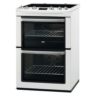 Zanussi ZCV667MWC 60cm Multiunction Electric Cooker in White Double Ov