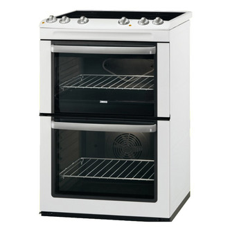 Zanussi ZCV668MW 60cm Electric Cooker in White Double Oven Ceramic