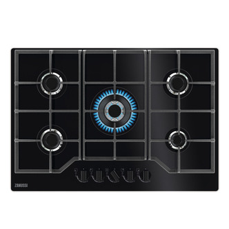 Zanussi ZGGN755K 75cm 5 Burner Gas Hob on Black Glass Wok Burner