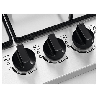 Zanussi ZGNN752X 75cm 5 Burner Gas Hob in St Steel Wok Burner