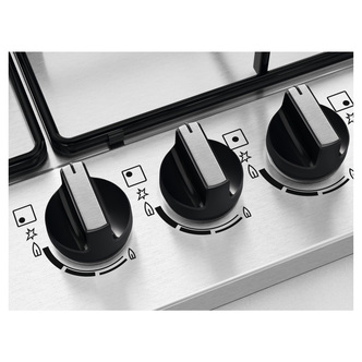 Zanussi ZGNN755X 75cm 5 Burner Gas Hob in St Steel Wok Burner
