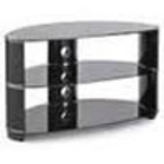 TTAP L608 850 3 Tempo 850mm Corner TV Stand in Black Gloss with Glass