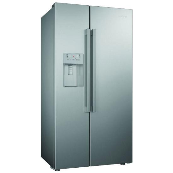 American Fridge Freezer Plumbed: Beko ASN541S American Style Fridge Freezer, Silver Non