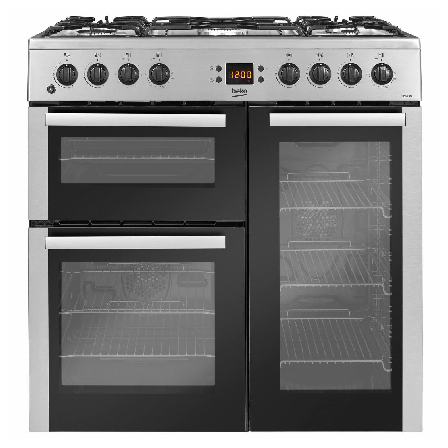 beko bdvf90x 90cm dual fuel cooker in st st double oven. Black Bedroom Furniture Sets. Home Design Ideas