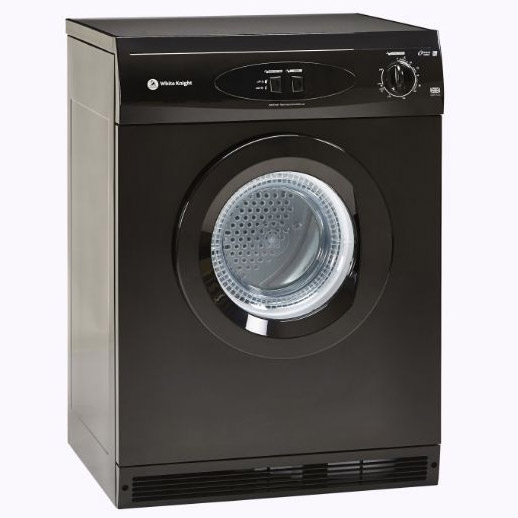 White Knight C44A7B 7kg Air Vented Tumble Dryer In Black Reverse Action