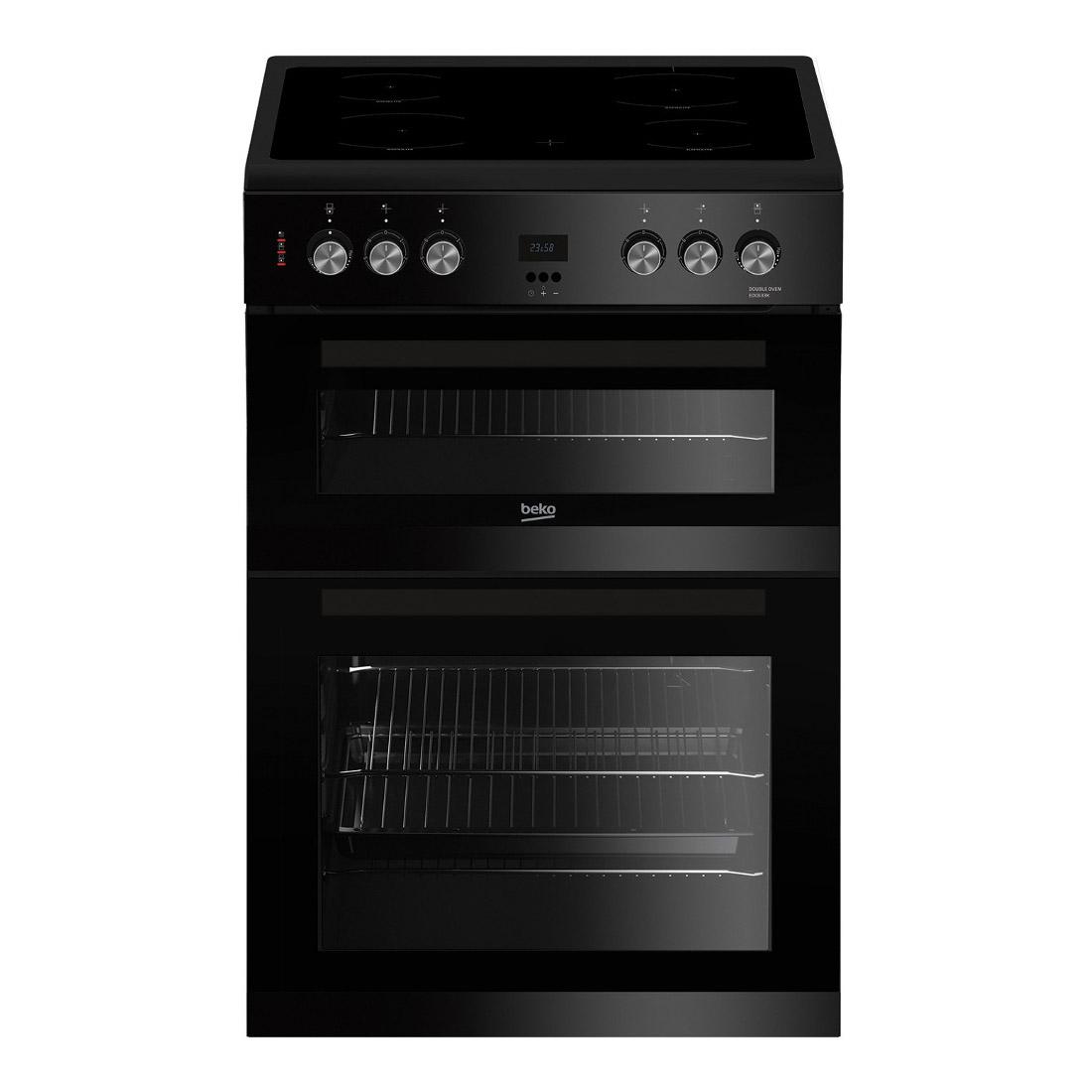 beko edc633k 60cm electric cooker in black double oven. Black Bedroom Furniture Sets. Home Design Ideas