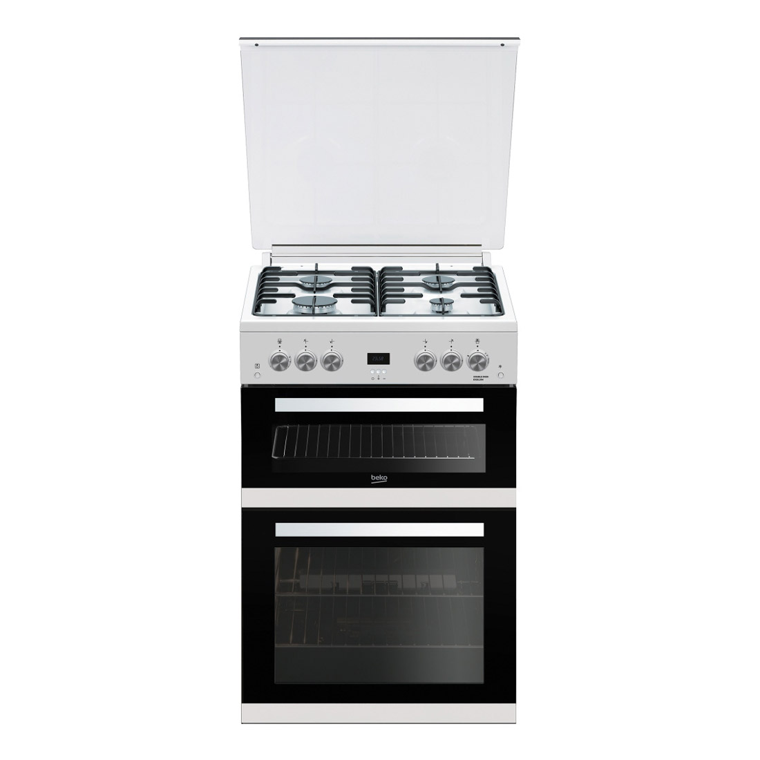 Oven Gas Stove Beko Edg6l33w 60cm Double Oven Gas Cooker In White Glass Lid Fsd