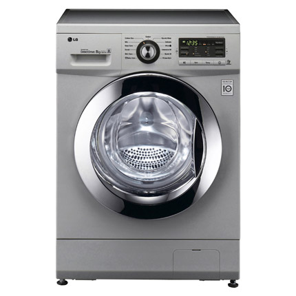 lg f1296tda5 washing machine in silver 1200rpm 8kg direct drive. Black Bedroom Furniture Sets. Home Design Ideas