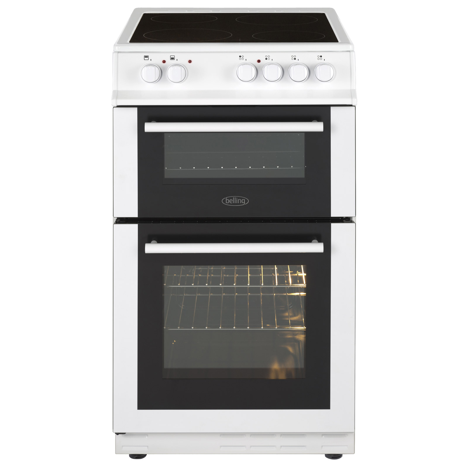 white electric range. Belling FS50EDOFCWHI 50cm Double Oven Electric Cooker In White, Ceramic Hob White Range