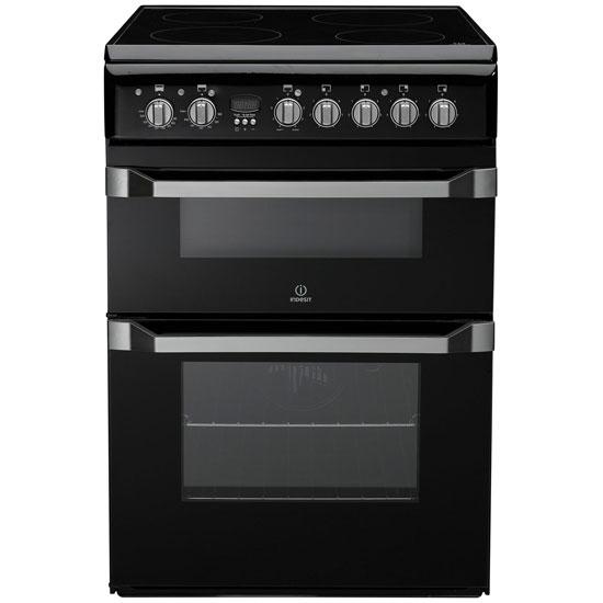 indesit id60c2ks 60cm electric cooker in black double. Black Bedroom Furniture Sets. Home Design Ideas