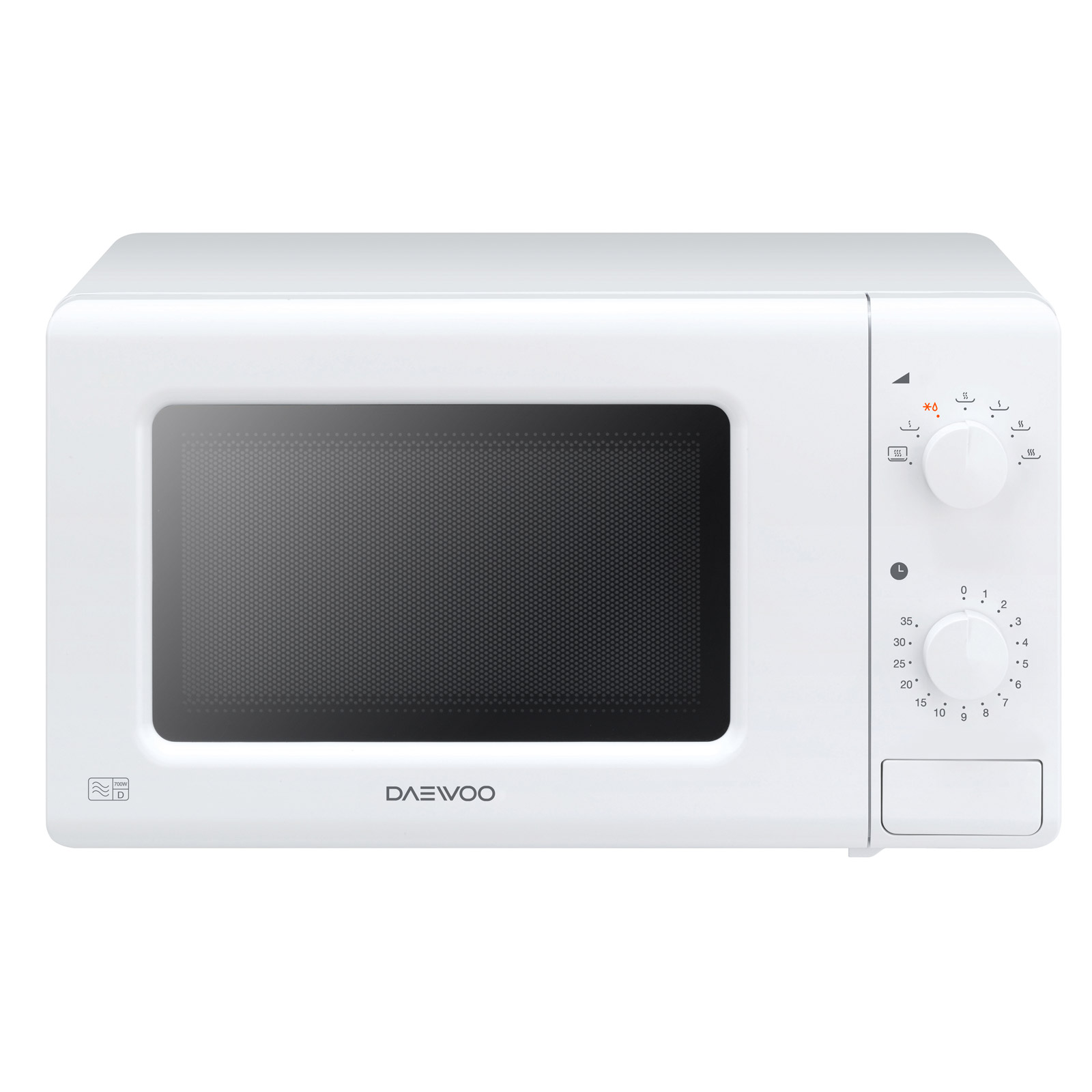 Daewoo KOR6M17 Microwave Oven in White, 20L 700W Dial Controls