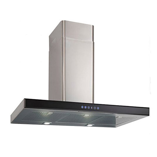 Luxair LA80 FSL SS 80cm Cooker Hood In Black Glass Stainless Steel