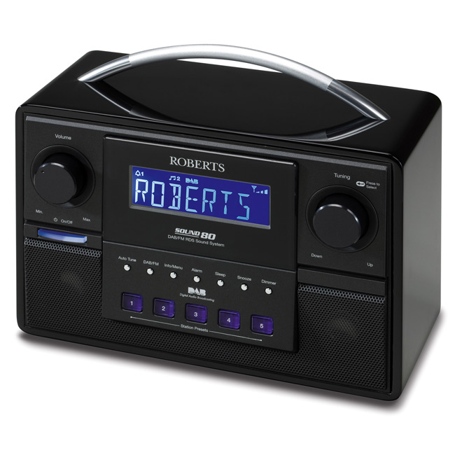 roberts sound80 dab fm rds sound system with 3 way speakers. Black Bedroom Furniture Sets. Home Design Ideas