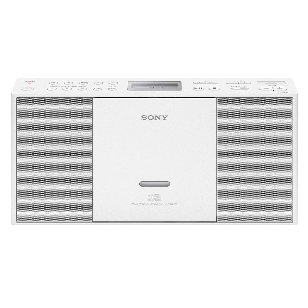 sony zspe60w portable cd radio boombox with usb input in white. Black Bedroom Furniture Sets. Home Design Ideas
